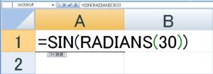 サイン関数で30度の数値を求める場合は、「=SIN(RADIANS(30))」と入力します。 そうすると……