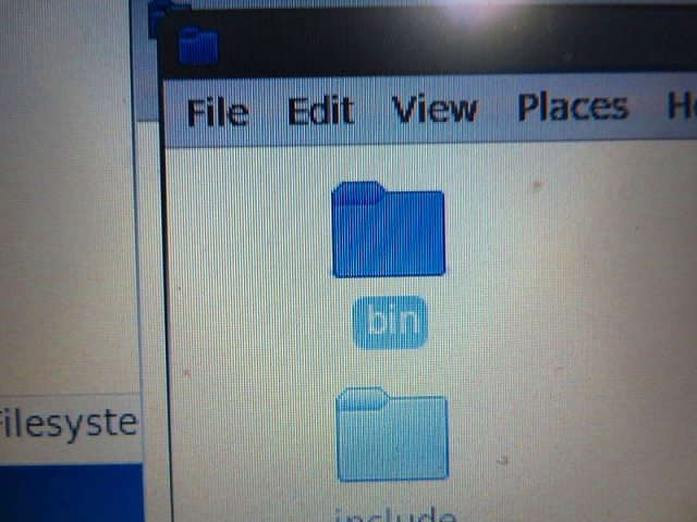 「bin」をクリック。