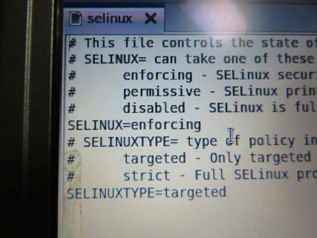 「SELINUX」というのは、CentOSを始めとしたLinux系のOSのセキュリティ機能です。 当然ONにしておいた方がいいのですが、設定作業には邪魔なので、今回はOFFに。