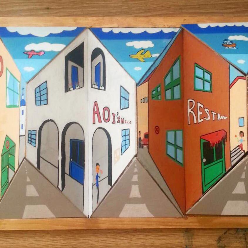 トリックアート,揺れる,街並み,だまし絵,夏休み,工作,宿題